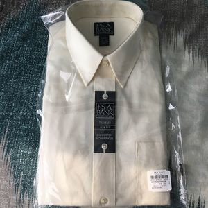 NWT Jos A. Banks Ivory Dress Shirt Slim Fit